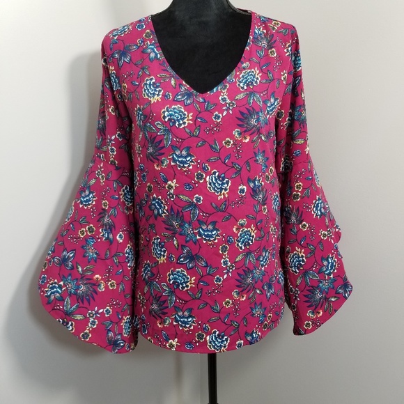 Pink Owl Tops - Pink Owl Pink Blue Floral Bell Sleeve Blouse S